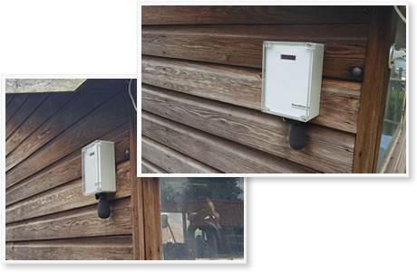 noise monitor mounted on a garage